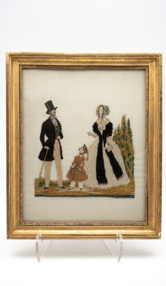 Embroidery of Couple and Child, 19th Century