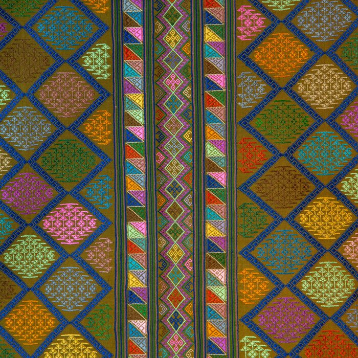 Bhutanese Silk Woven Kira Textile, Multicolor on Brown from the Royal Weavers of Bhutan