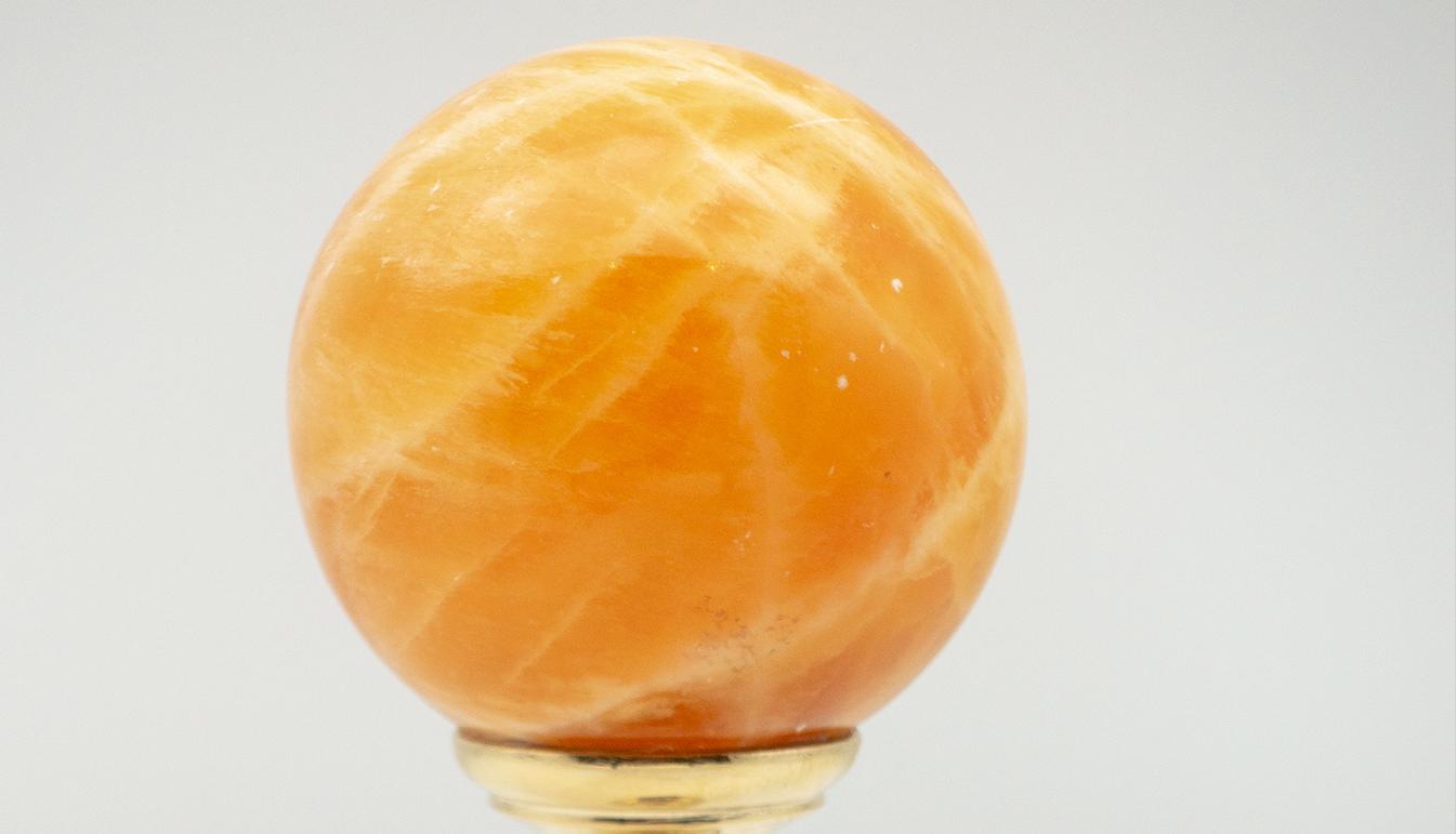 Brass-Mounted Orange Calcite Sphere Medium