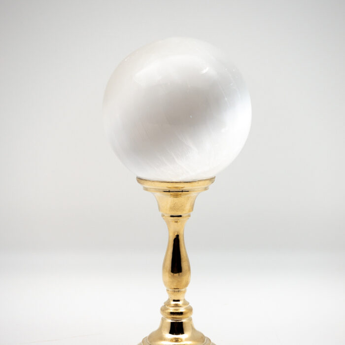 Brass-Mounted Selenite Sphere Medium