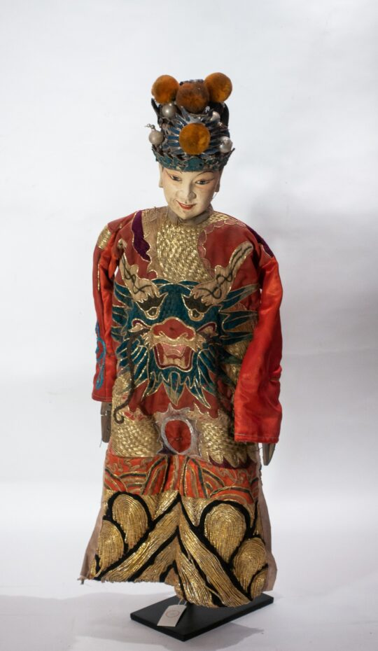 Chinese Opera Theatre Marionette, Red Silk Robe, Orange Pom Poms