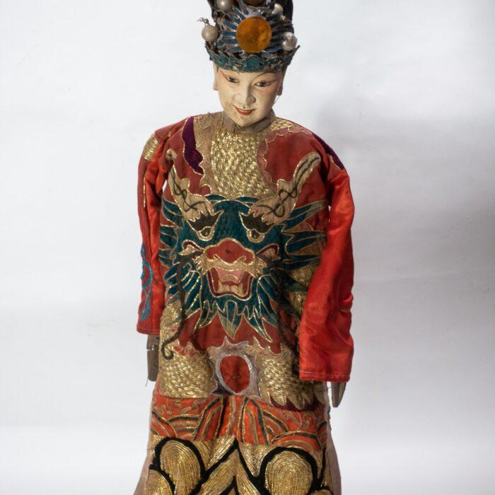 Chinese Opera Theatre Marionette, Red Silk Robe, Orange Pom Poms