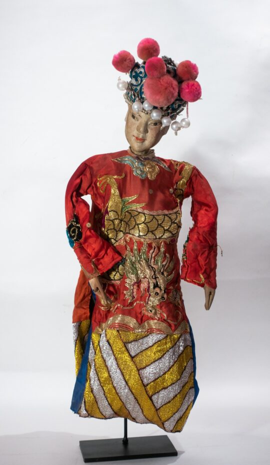 Chinese Opera Theatre Marionette, Red Silk Robe, Pink Pom Poms