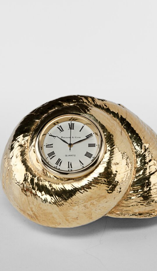 Gilded Rosy Top Shell Clock