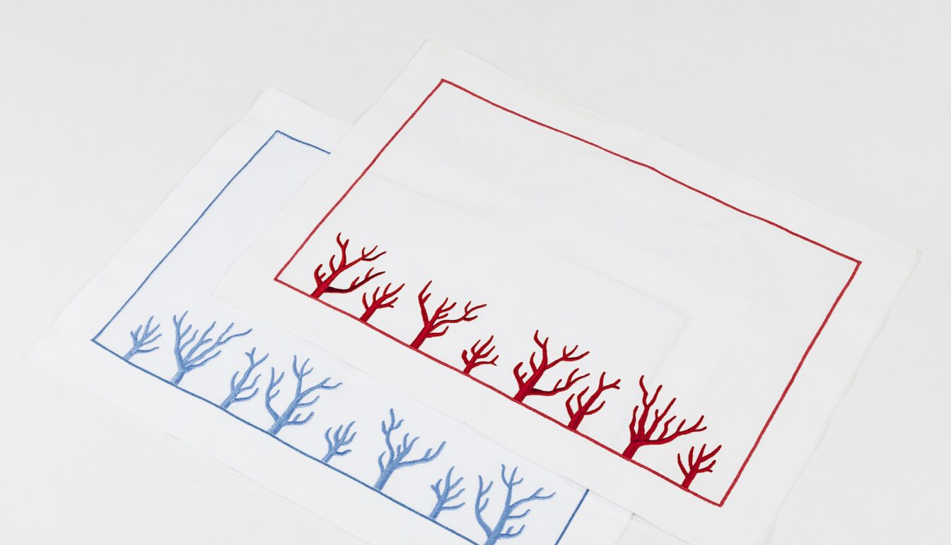Red Coral Embroidered Placemat