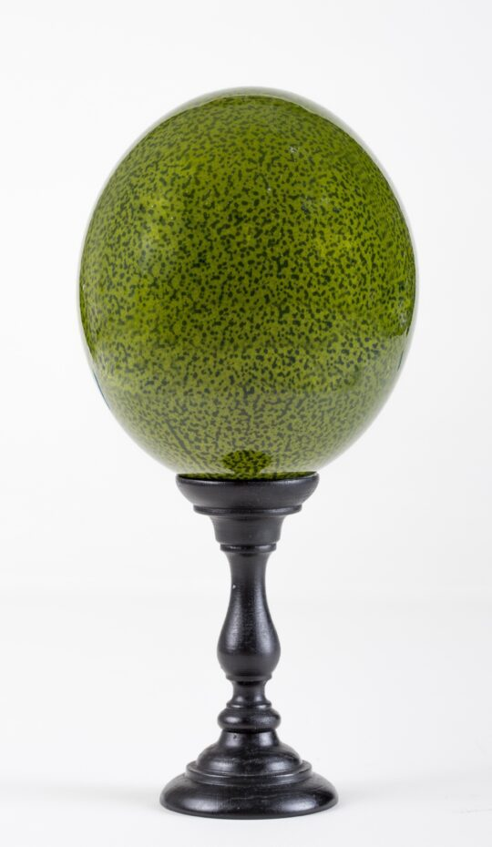 Green Lacquered Speckled Ostrich Egg Mounted