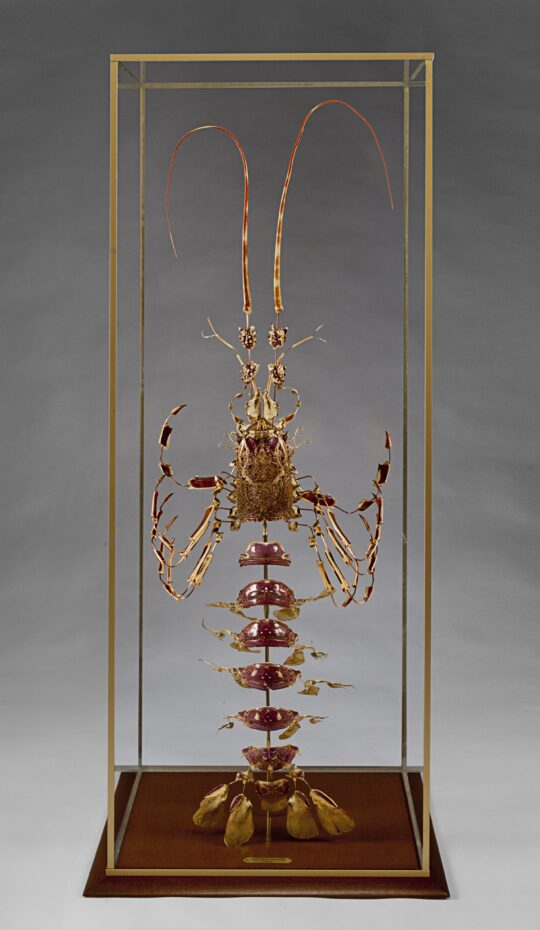 Large French Deconstructed  Lobster Sculpture in a Glass and Brass Case