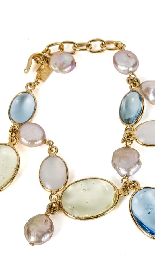 Loulou de la Falaise Pebble and Pearl Bracelet