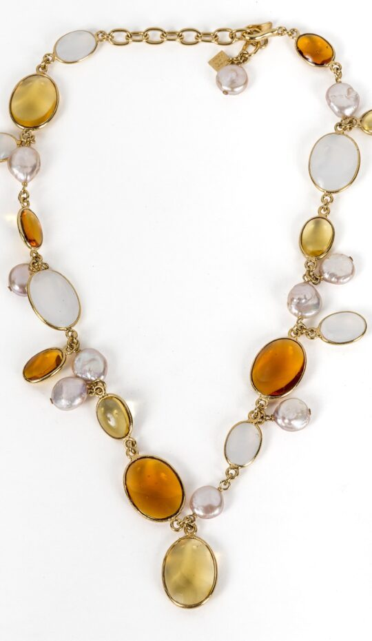 Loulou de la Falaise Pebble and Pearl Long Necklace