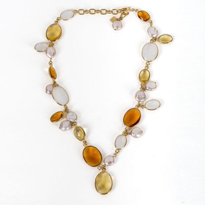 Loulou de la Falaise Pebble and Pearl Long Necklace