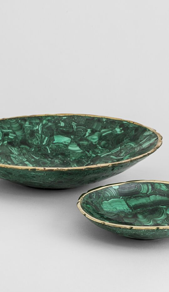 Malachite Dish w/ Brass Rim 3″ – 4½""