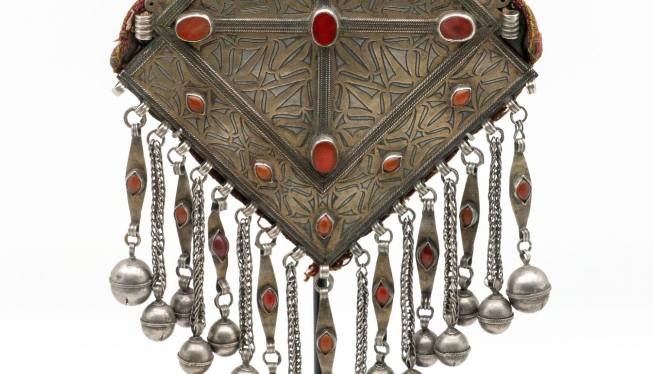 Silver and Carnelian Pendant, Turkmen