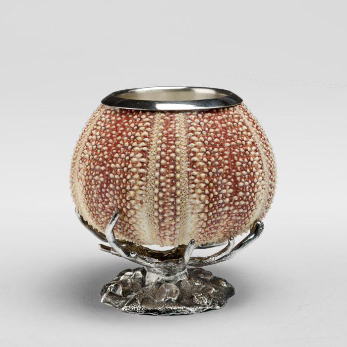 Sea Urchin Silver Penholder On Coral Base