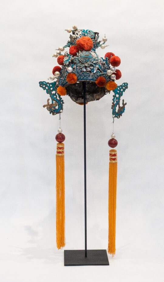 Chinese Opera Theatre Headdress, Orange Pom-Poms