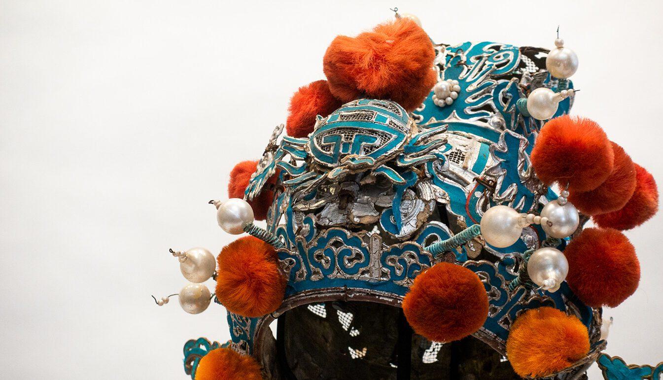 Chinese Opera Theatre Headdress, Orange Pom-Poms, c 1920s