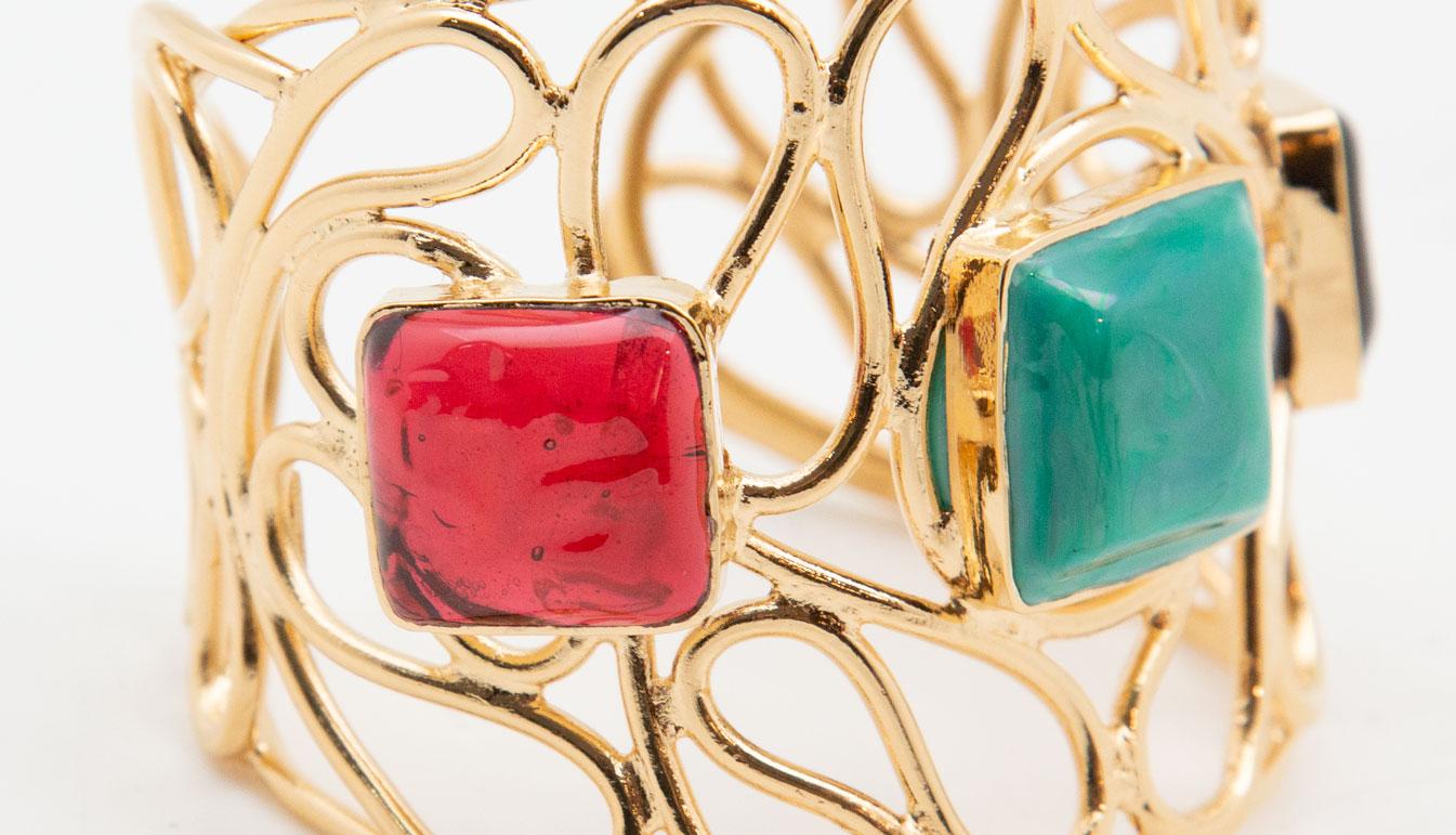 Gold Plated and Pâte de Verre Cuff Bracelet