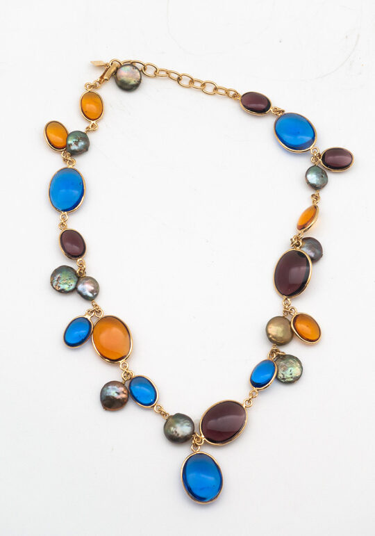 Loulou de la Falaise Pebble and Pearl Short Necklace