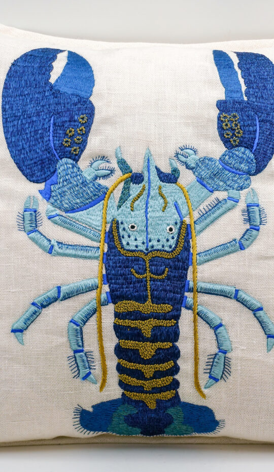 Embroidered Linen Lobster Pillow