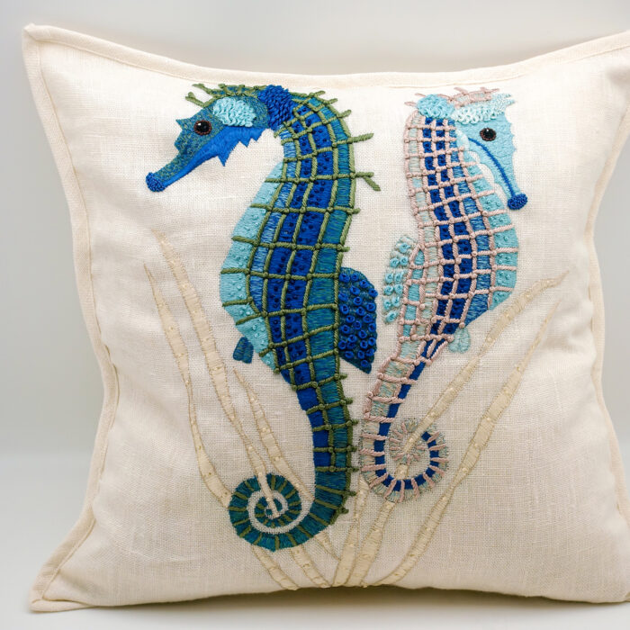 Embroidered Linen Seahorse Pillow