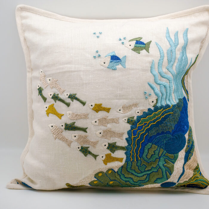 Embroidered Linen Sea Life Pillow