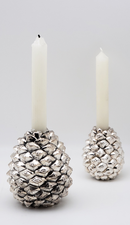 Silver Pine Cone Candlestick