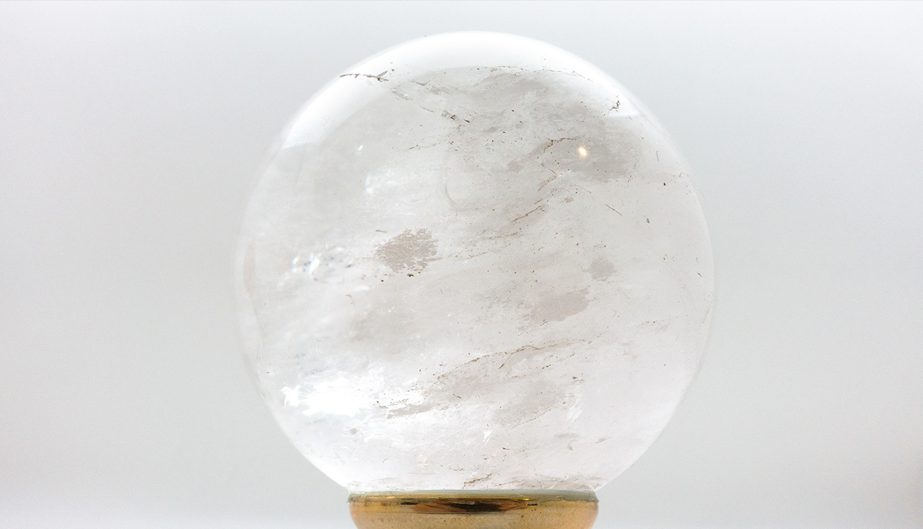 Brass-Mounted Rock Crystal Sphere, Small