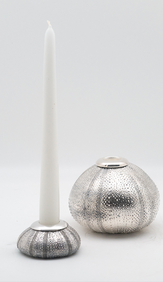 Urchin silvered candle holder 3″ – 4″