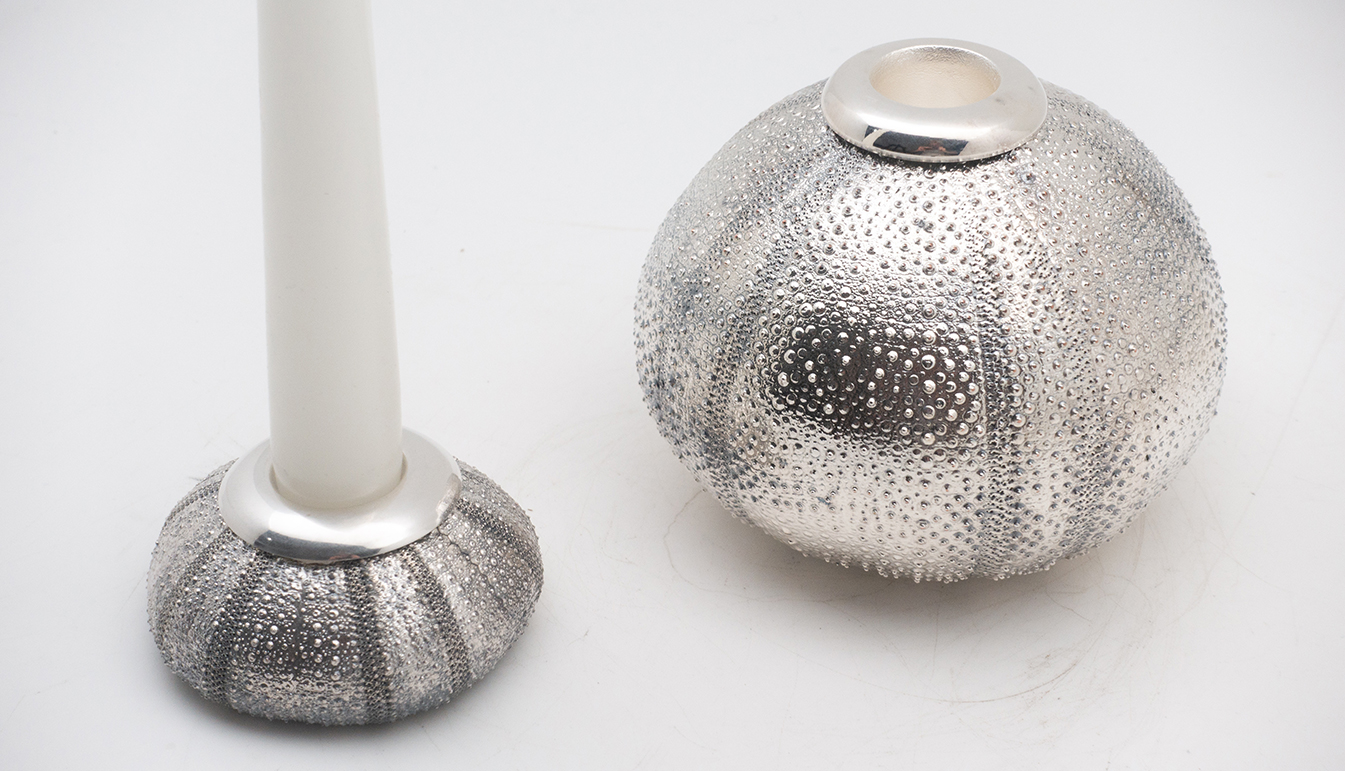 Urchin silvered candle holder 3