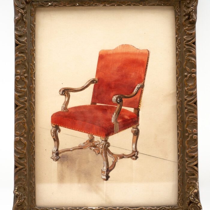Framed Watercolor of Louis XIV Chair, French, 19th Century