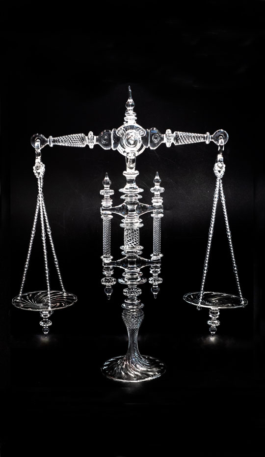 Handblown glass balance scale, part of a limited series.