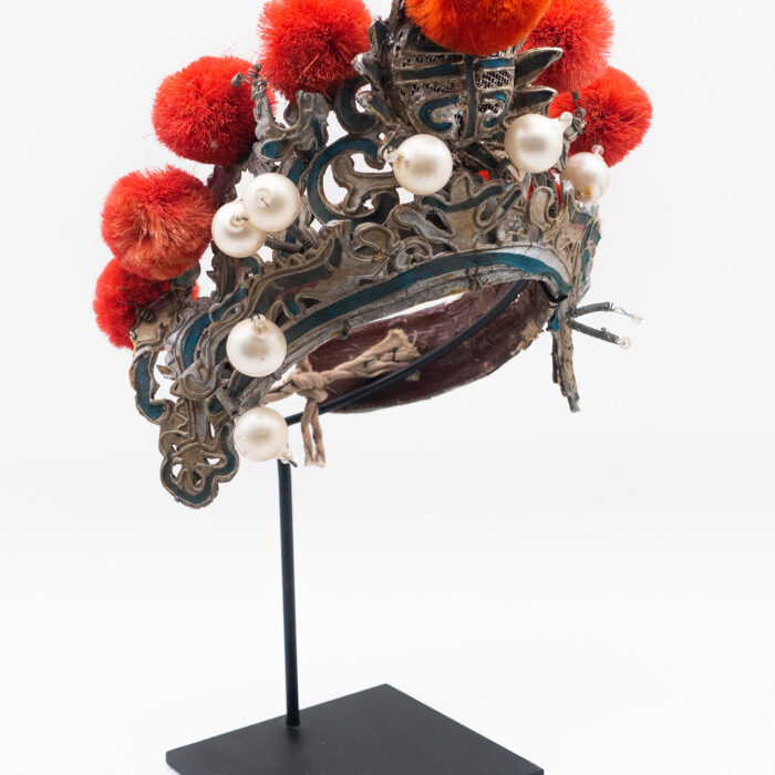 Chinese Opera Theatre Headdress, Coral Color Pom-Poms, c 1920s