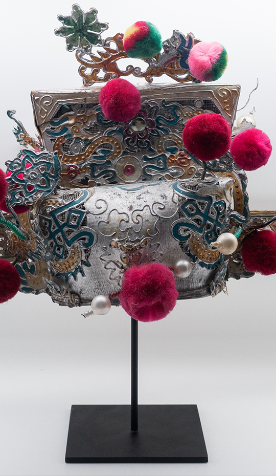 Chinese Opera Theatre Headdress, Rubine Red Pom-Poms, c 1920s