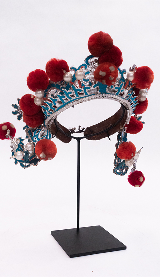 Chinese Opera Theatre Headdress, Red Pom-Poms, c 1920s