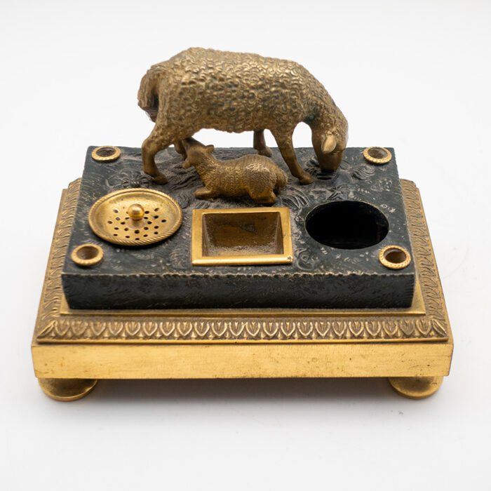 Gilded Bronze Inkwell of Sheep and Lamb, French, Early 19th Century
