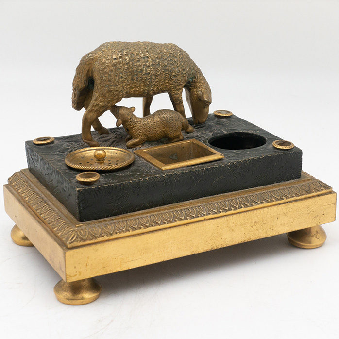 Gilded Bronze Inkwell of Sheep and Lamb, French
