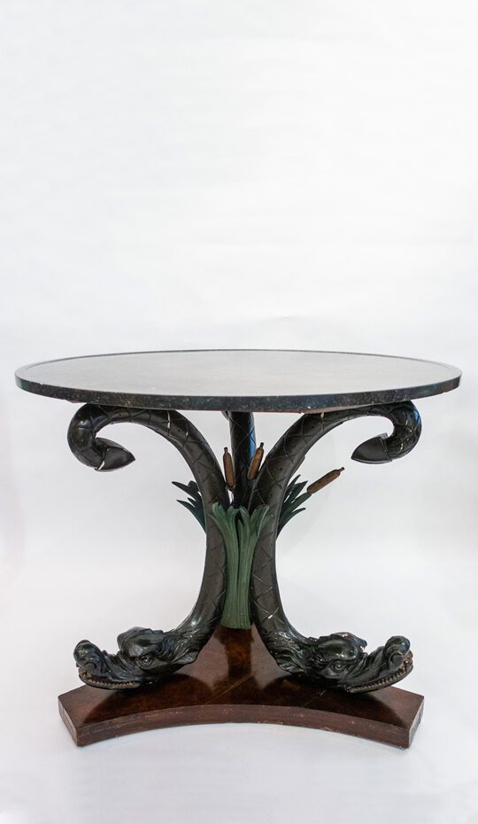 Mahogany center table round with dragon and reed decoration