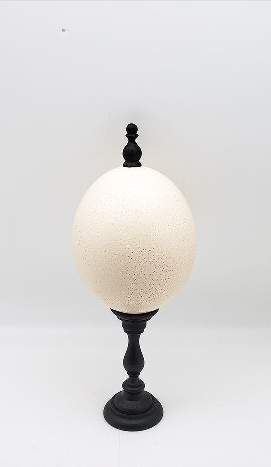 Mounted Ostrich Egg, Small w/ Wood Finial