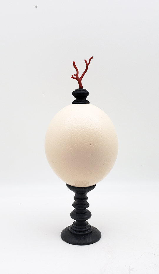 Mounted Ostrich Egg, Small w/ Coral Finial