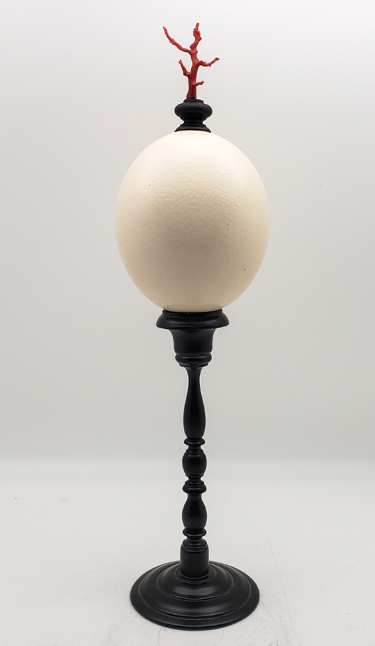 Mounted Ostrich Egg, Tall with Coral Finial