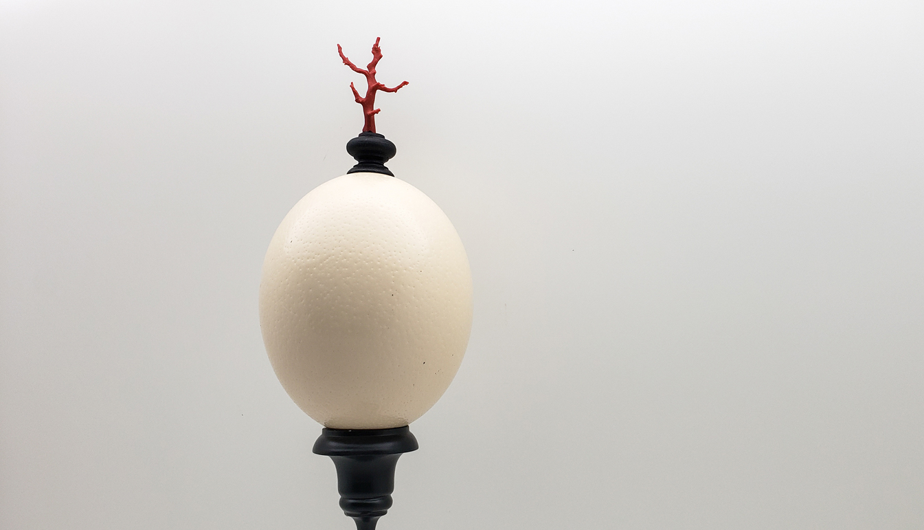 Mounted Ostrich Egg, Tall w/ Coral Finial
