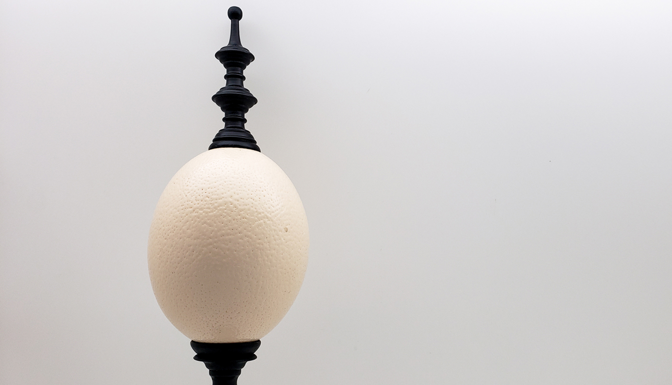 Mounted Ostrich Egg, Tall w/ Tall Wood Finial