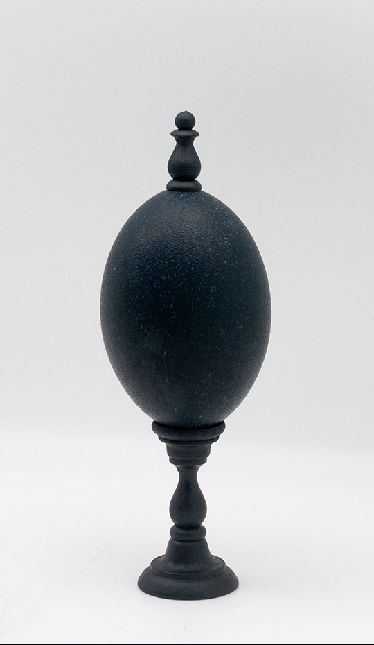 Mounted Emu Egg with Turned Wood Finial, Small