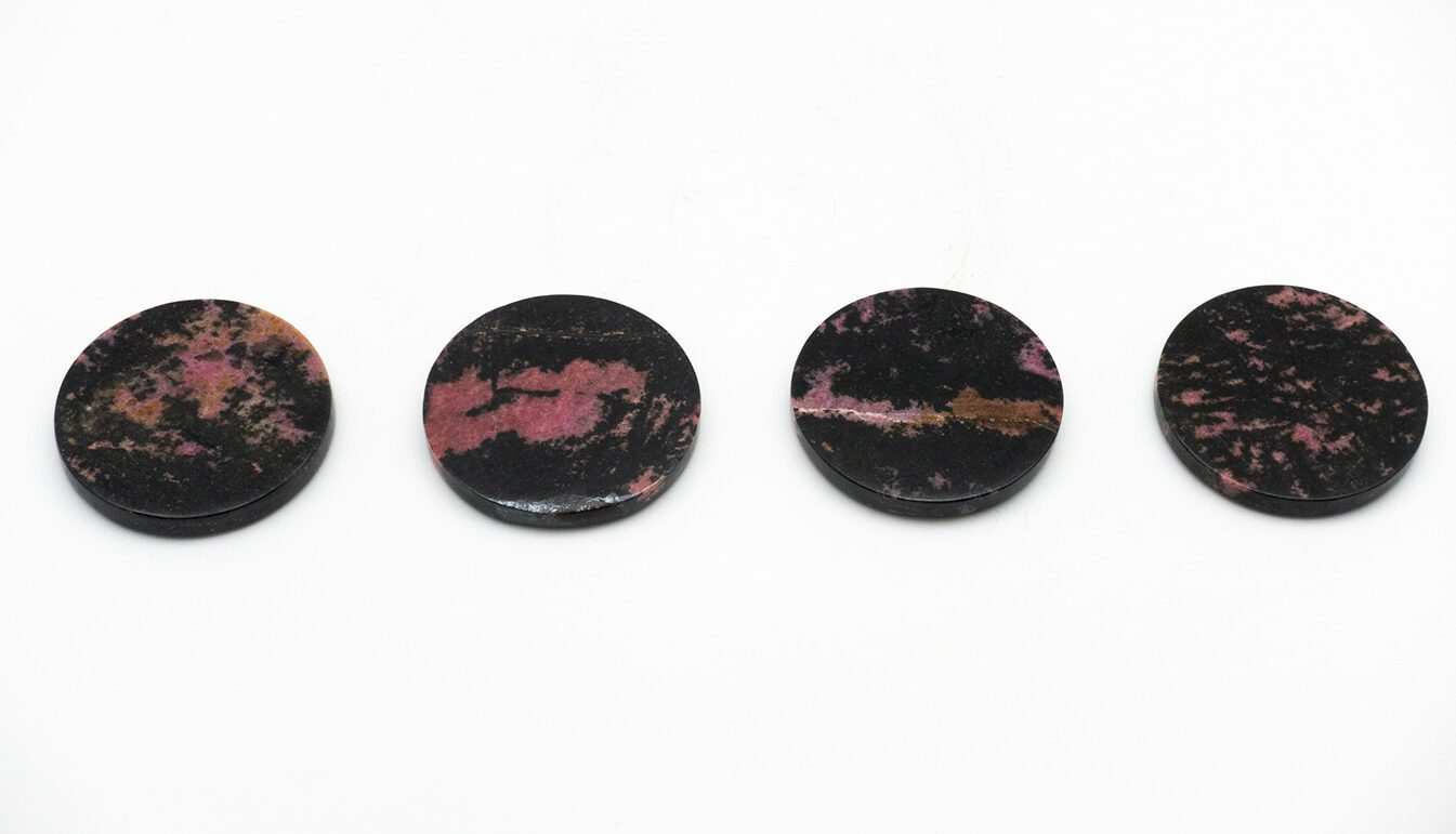 Rhodonite Coasters, Set of 4