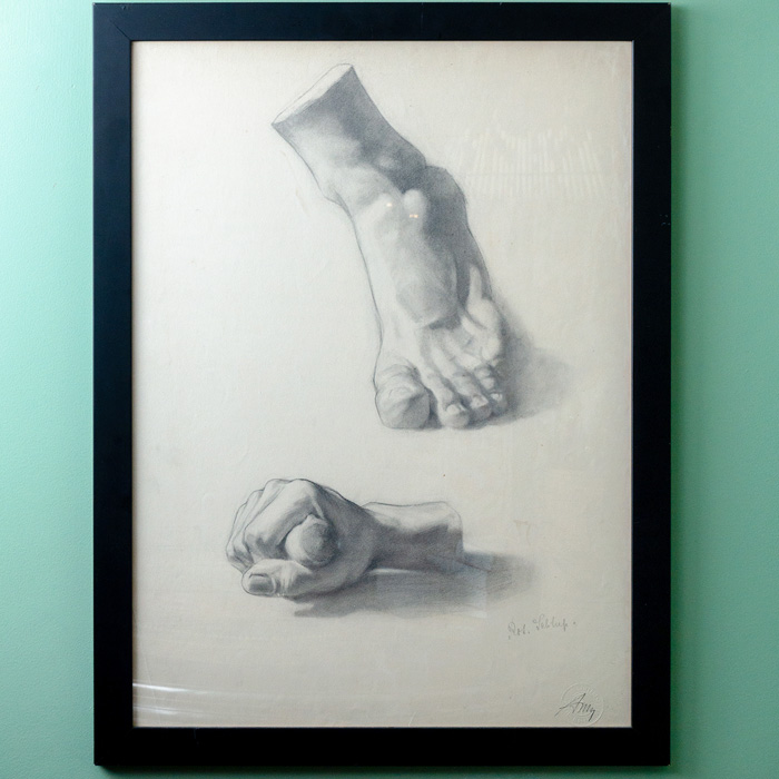 Hand & Foot Pencil Drawing, stamped Basel