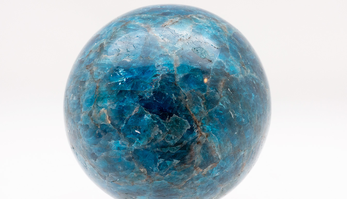 Brass-Mounted Blue Apatite Sphere Small