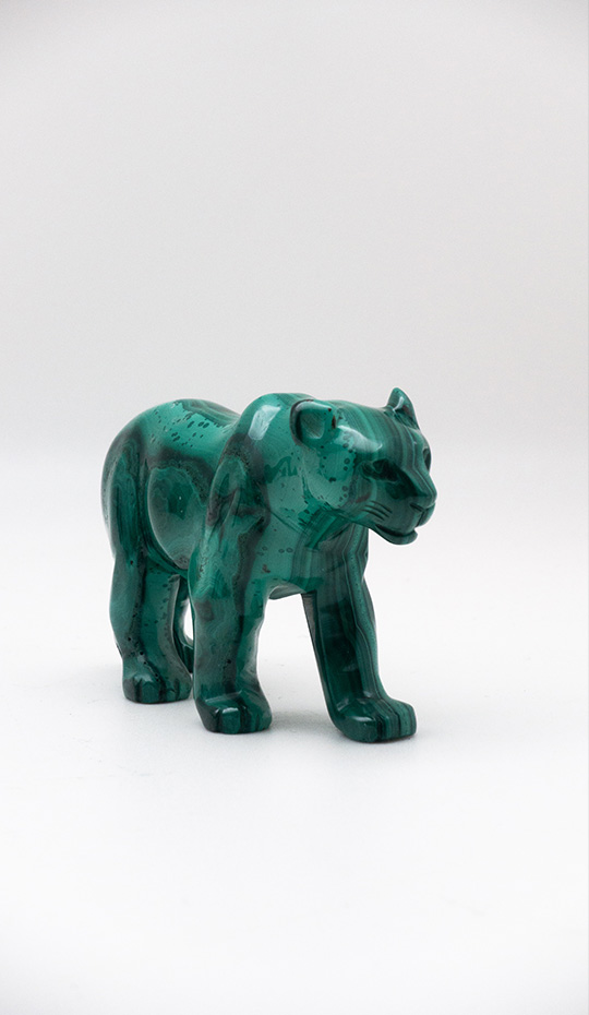 Malachite Panther Carving