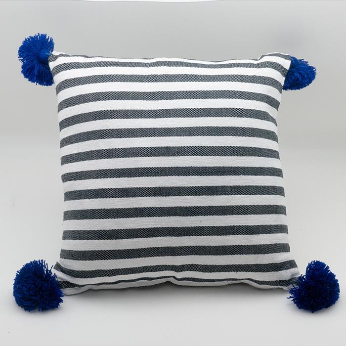Moroccan Tassel Pillow, Blue