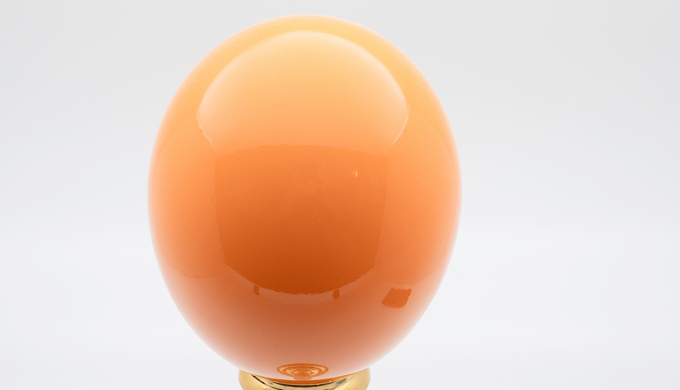 Brass-Mounted Orange Lacquered Ostrich Egg