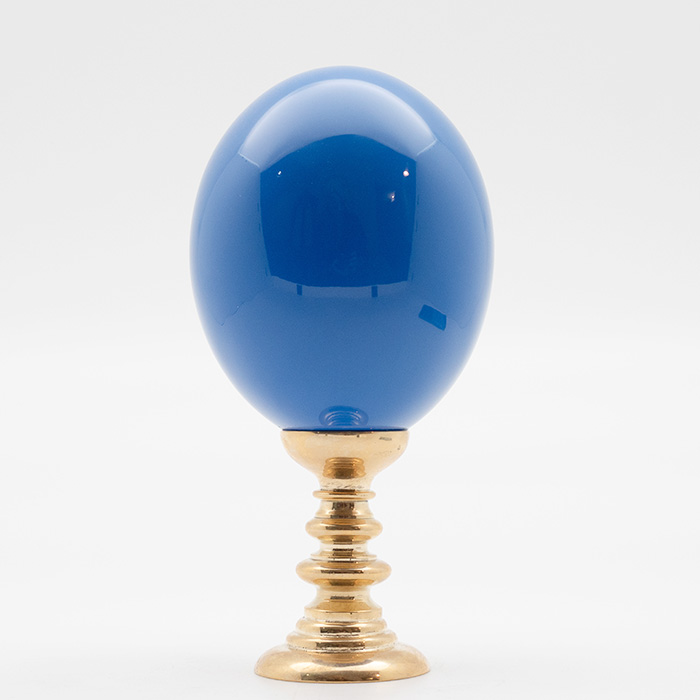 Brass-Mounted Blue Lacquered Ostrich Egg