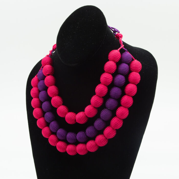 Pink/Purple Three Strand Necklace with Frog Closure